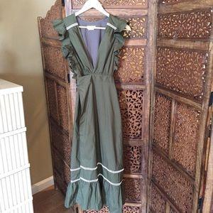NEW Lovers & Friends Green Midi Dress Wrap S